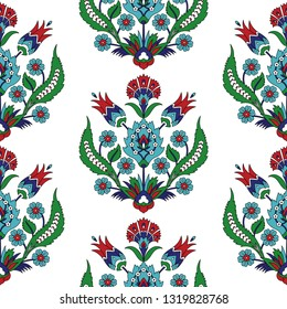 Turkish arabic pattern vector seamless. Ottoman iznik tile design with tulip flowers. Vintage border background for wallpaper, backdrop, home textile, curtain fabric.