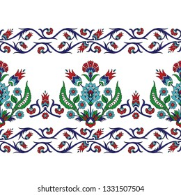 Turkish arabic pattern vector seamless border. Ottoman iznik tile design with tulip flowers. Antique damask floral texture for textile, decoration or wallpaper.