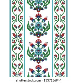 Turkish arabic pattern vector seamless border. Ottoman iznik tile design with tulip flowers. Persian floral texture for textile, decoration or wallpaper.
