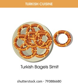 Turkish Bagels Simit on plate from traditional national cuisine