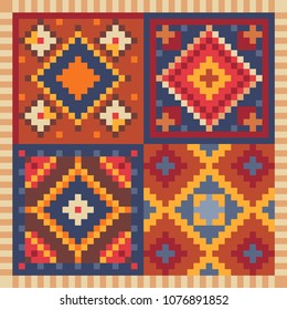 Turkish carpet oriental pattern pixel art icon. Isolated vector illustration. 8-bit. Design for stickers, logo, mobile app.