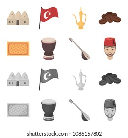 Turkish carpet, saz, drum, turkish men.Turkey set collection icons in cartoon,monochrome style vector symbol stock illustration web.