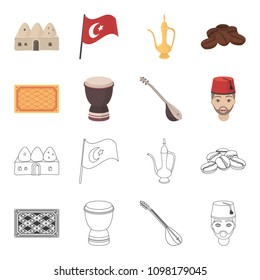 Turkish carpet, saz, drum, turkish men.Turkey set collection icons in cartoon,outline style vector symbol stock illustration web.