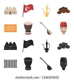 Turkish carpet, saz, drum, turkish men.Turkey set collection icons in black,cartoon style vector symbol stock illustration web.