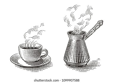 Turkish cezve pot and cup of hot drink. Hand drawn engraving style illustrations.