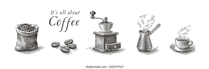 Turkish cezve pot, cup of hot drink, coffee beans, grinder and coffee sack bag. Hand drawn engraving style illustrations.