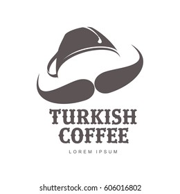 Turkish coffee logo templates. Abstract two colors coffee logo for your design. Badges, labels, banners, advertisements, brochures, business templates. Vector illustration isolated on white background