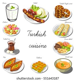 Turkish cuisine set. Collection of food dishes for the decoration of restaurants, cafes, menus. Vector Illustration. Isolated on white.