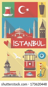 turkish cultural icons on travel poster. city symbols for postcards, cardboards, posters