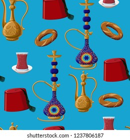 Turkish culture heritage fez, pitcher, hookah, glass of tea and simit seamless pattern on blue background. Cartoon style vector illustration.