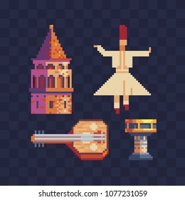 Turkish cultures elements pixel  art icons set Part4. Saz turkish music instrument, dervish dancer and traditional drum. Building Tower Istanbul landmark. Isolated vector pixel art illustration. 8-bit
