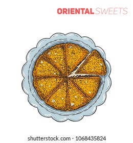 Turkish dessert kunefe, hand drawn vector illustration. Isolated on white. Top view.