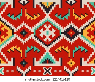 Turkish Ethnic Pattern. Seamless Tribal Background for Textile Design