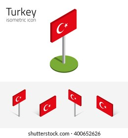 Turkish flag (Republic of Turkey), vector set of isometric flat icons, 3D style, different views. 100% editable design elements for banner, website, presentation, infographic, poster, map. Eps 10