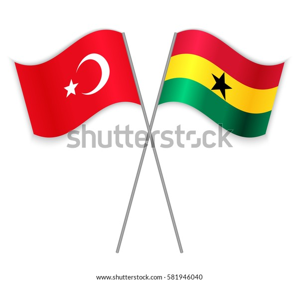Turkish and Ghanaian crossed flags. Turkey combined with Ghana isolated on white. Language learning, international business or travel concept.