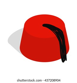 Turkish hat, fez icon, isometric 3d style