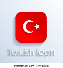Turkish icon with flag sign