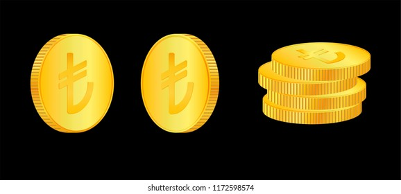 Turkish lira. 3D isometric Physical coins. Currency.  Golden coins with turkish lira  symbol isolated on black  background. Vector illustration. Turkey