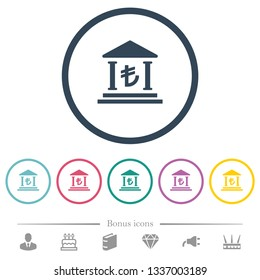 Turkish Lira bank office flat color icons in round outlines. 6 bonus icons included.