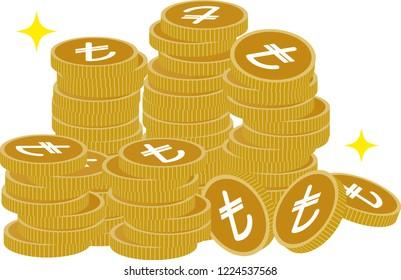 turkish lira coins,vector illustration