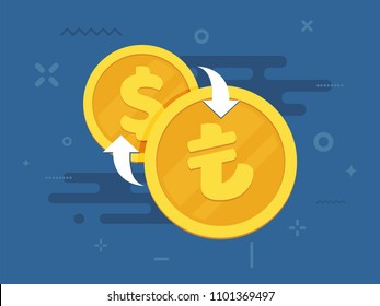 Turkish lira and dollar exchange concept. National currency signs. Finance symbol. Flat style vector illustration.