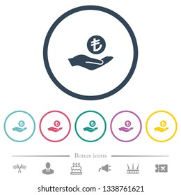 Turkish Lira earnings flat color icons in round outlines. 6 bonus icons included.