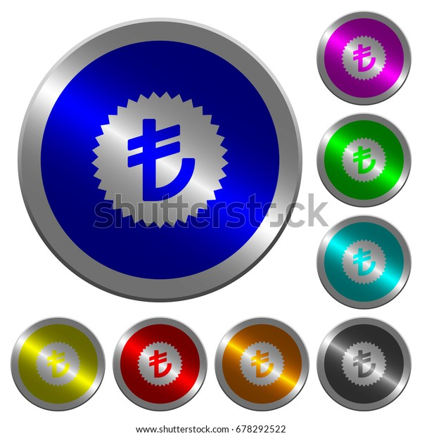 Turkish Lira sticker icons on round luminous coin-like color steel buttons