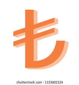 Turkish lira symbol hand drawn 3d look vector illustration, finance, economical, crisis, currency, lira currency crisis concepts