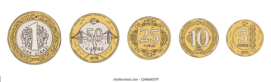 turkish liras, turkish coin hand drawn set vector