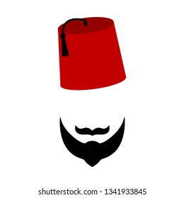 Turkish man, red hat, beard and mustache, on a white background, vector