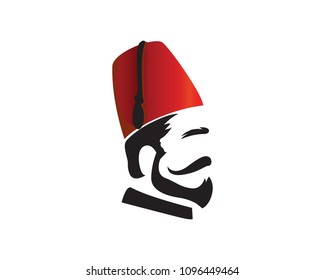 Turkish Man Wearing Fez Logo In Isolated White Background
