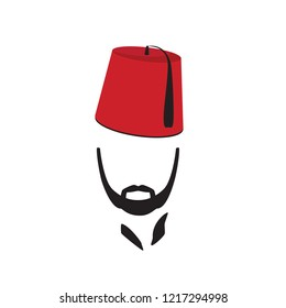 Turkish Man Wearing Fez Logo In Isolated White Background. Vector illustration