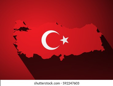 Turkish map with shadow