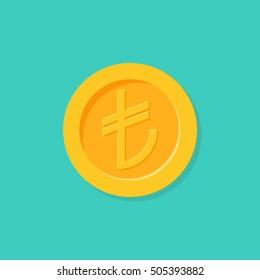 Turkish money in flat cartoon style. Turkish lira isolated on background. Gold coin