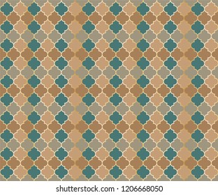 Turkish Mosque Window Vector Seamless Pattern. Ramadan mubarak muslim background. Traditional ramadan mosque pattern with gold grid. Trendy islamic window grid design of lantern shapes tiles.