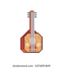 Turkish music instrument baglama saz oud pixel art icon. Isolated vector illustration. 8-bit. Design for stickers, logo, mobile app.