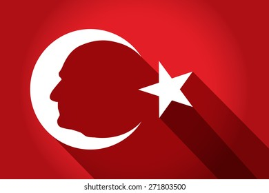 Turkish national flag symbols with Ataturk silhouette with flat shadows