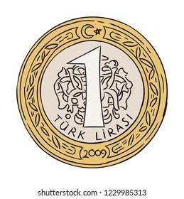 turkish one lira coin hand drawn vector