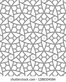 Turkish, oriental, arabic, east seamless pattern or background or wallpaper in gray scales. Vitrage background.