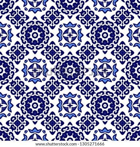 Turkish Ornamental Moroccan Tile Mosaic Spanish Stock Vector