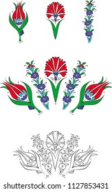 Turkish Ottoman Anatolian Floral Tile Art, Cini or Tezhip Design, Tulip, Clover and Flowers Drawing