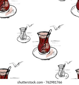 Turkish pattern with turkish tea glass.  Hand drawn sketch vector illustration.