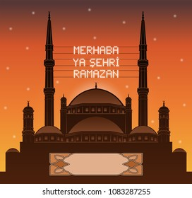 Turkish ramadan mahya lights over a mosque silhouette in front of sunset. All the objects and letters are in different layers and you can write anything you want with the mahya candles.