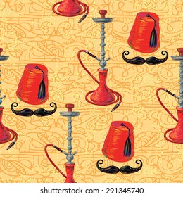 Turkish seamless pattern with fez, mustache and hookah. Tiled background oriental ornament vector illustration perfect for wallpaper, pattern fill, web page, surface texture, textile