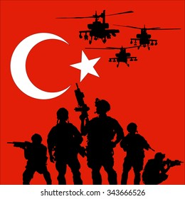 turkish soldier with helicopters on the turkish flag background