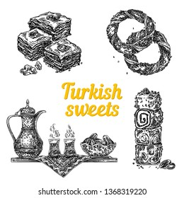 Turkish sweets. Baklava, simits, delight and tray with tea set. Sketch. Engraving style. Vector illustration.