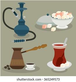 Turkish sweets, coffee, tea and hookah.  Turkey. Vector set