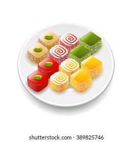 Turkish sweets isolated on transparent background, photo-realistic vector illustration
