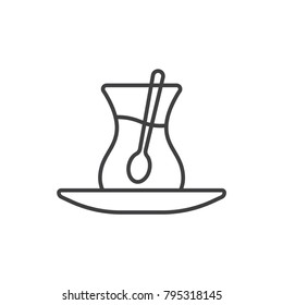 Turkish tea cup line icon.