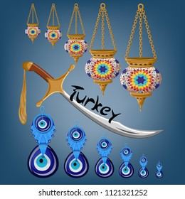 Turkish touristic greeting card template with traditional ceramic lamps, sword, amulet boncuck evil eye and word Turkey on blue background. Cartoon style vector illustration.